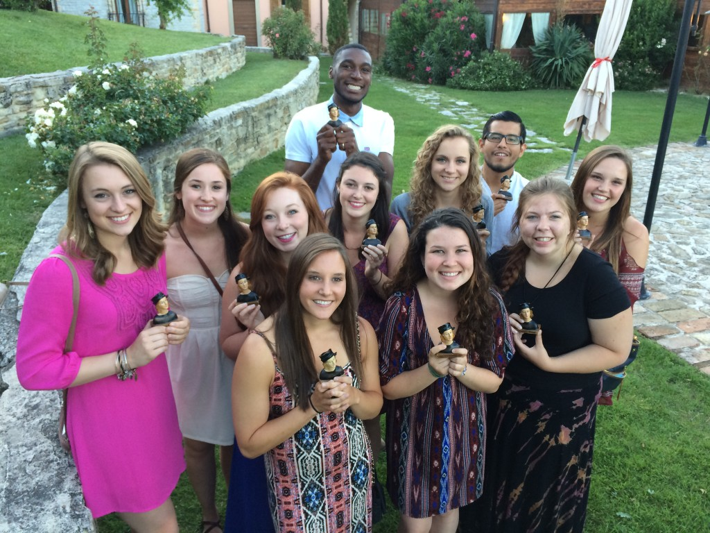 2014 Urbino Project Raffie Winners. Back Row: Devon Jefferson. Middle Row:  Caroline Davis, Michele Goad, Abigail Moore, Rebecca Malzahn, Kendall Gilman, Manuel Orbegozo. Front Row: Tessa Yannone, Deanna Brigandi, Sarah Eames, Rachel Mendelson.