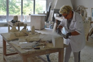 Gasparucci starts by using a drill, but the rest she does by hand. Sculptures take anywhere from a week to 15 days.