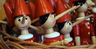 Classic miniature Pinocchio's sold at the Bartolucci company. Each is crafted and painted by hand.