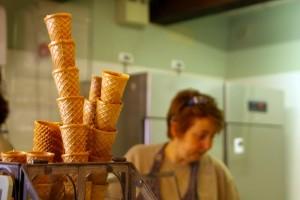 Stacked gelato cones.